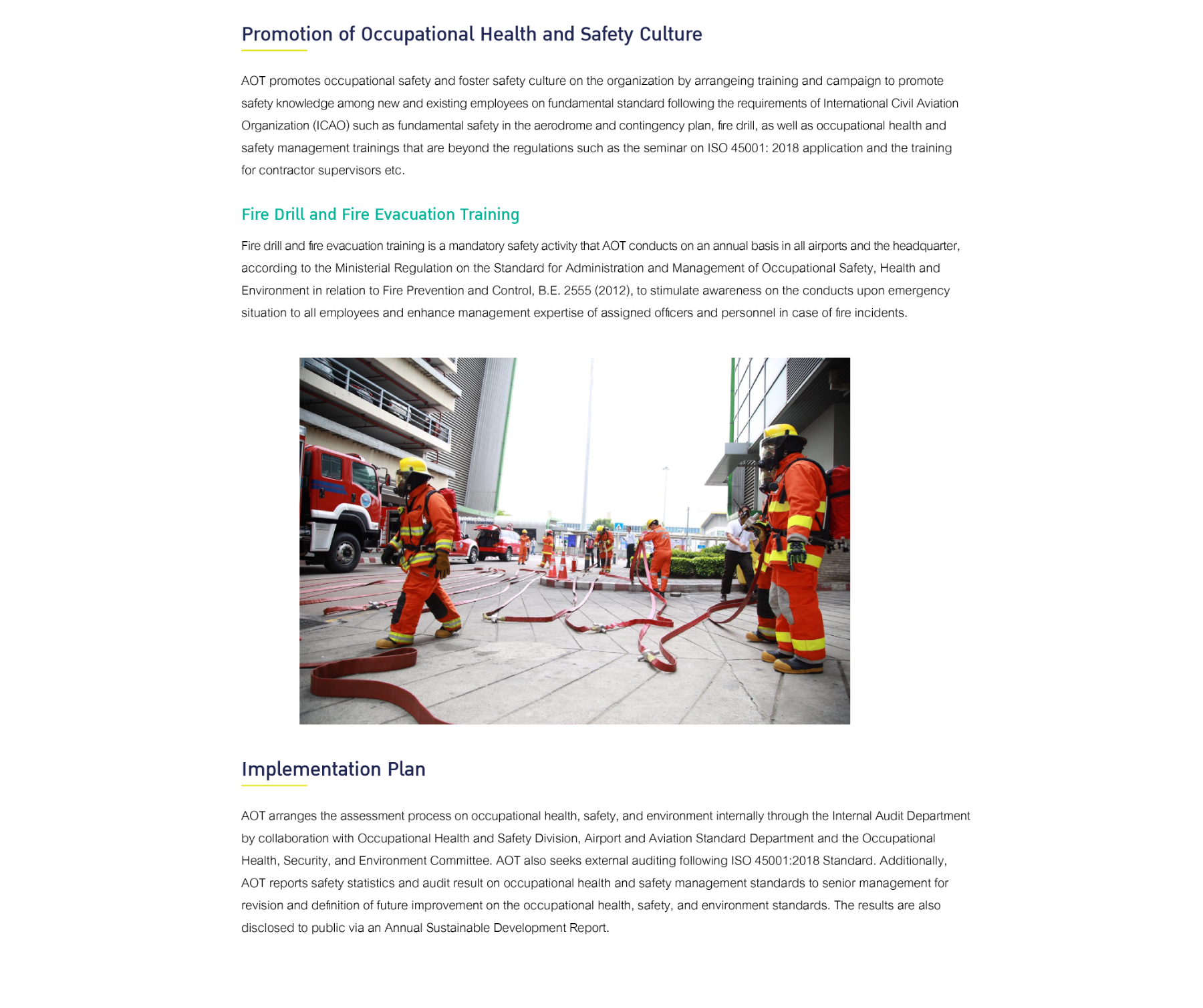 Promotion of Occupational Health and Safety Culture Fire Drill and Fire Evacuation Training Implementation Plan